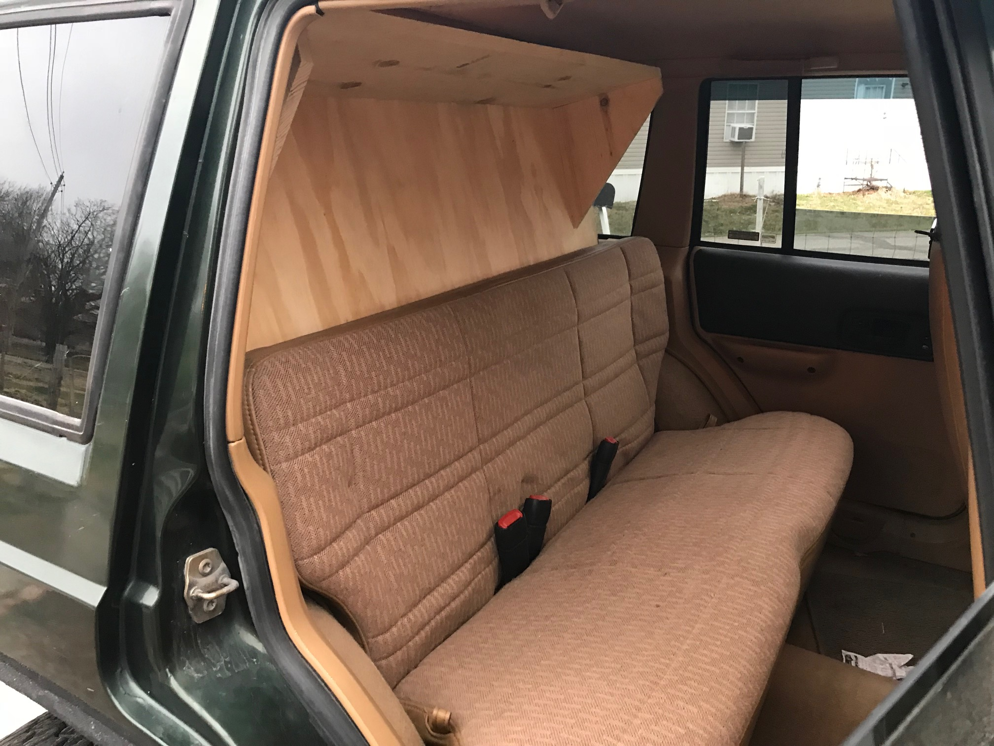 jeep xj cherokee cargo storage sleeping platform folding rear seat