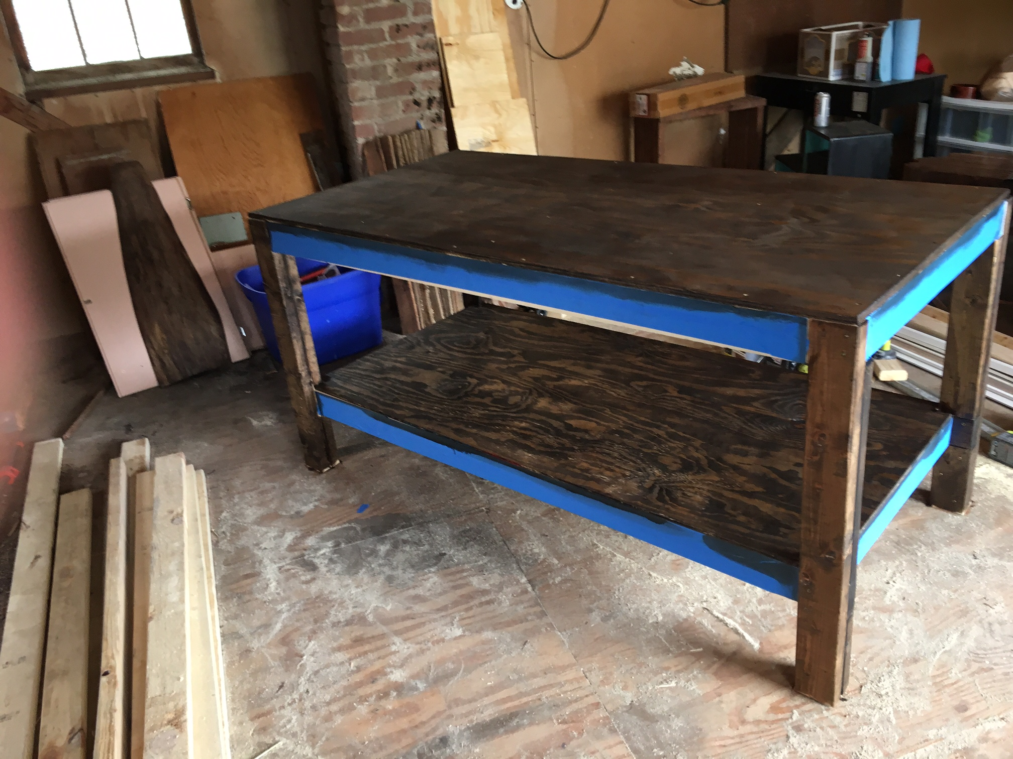 wooden x with workbench accessories top bench shelf work in h p d edsal table w workbenches
