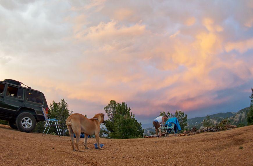 Beautiful sunset in Colorado with fisheye lens