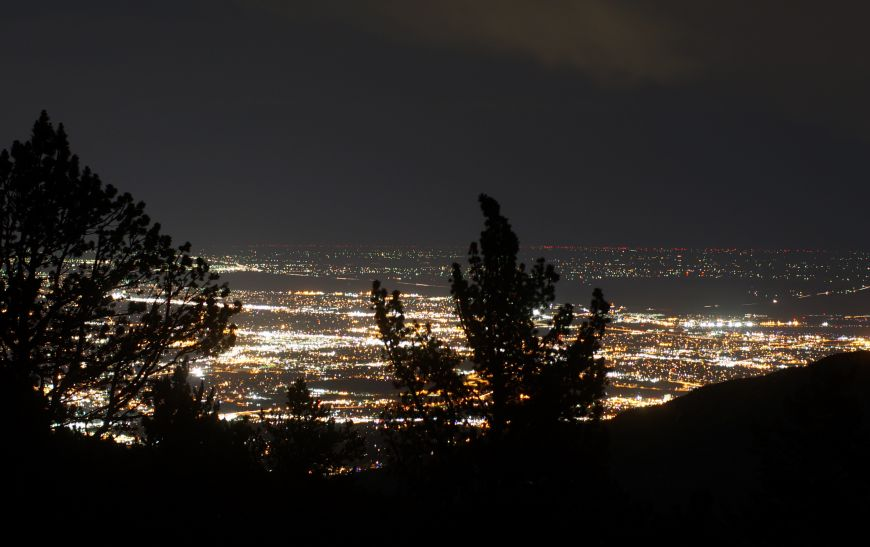 Colorado Springs as seen from Mount Rosa at night