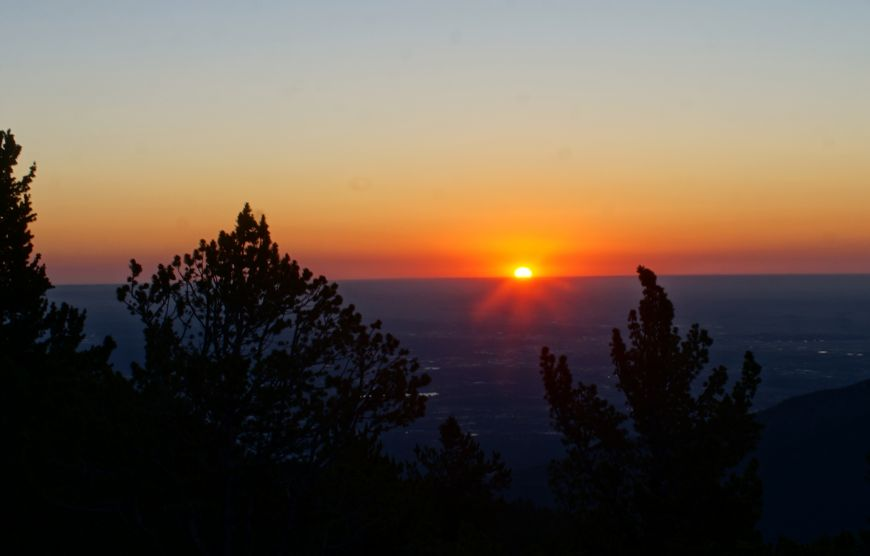 Colorado Springs as seen from Mount Rosa during the sunrise