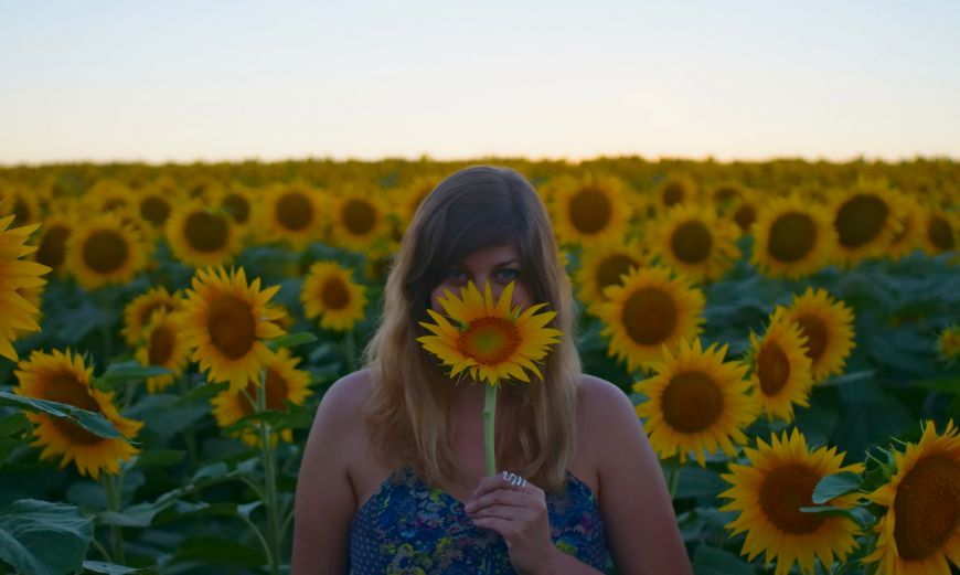 sunflower field with girl