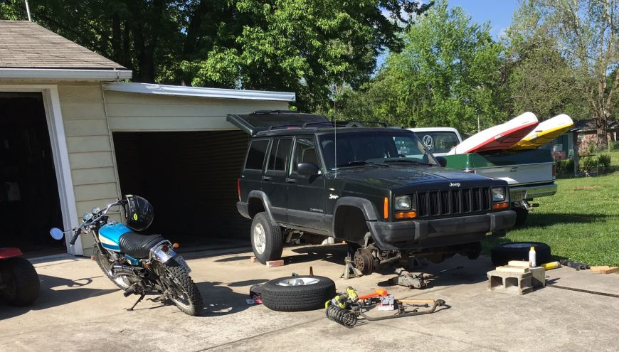 working on a jeep charokee xj lift kit install