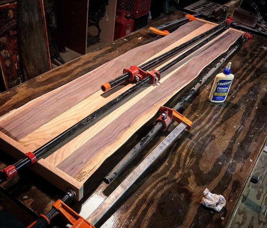 gluing and clamping table top with oak and live-edge walnut