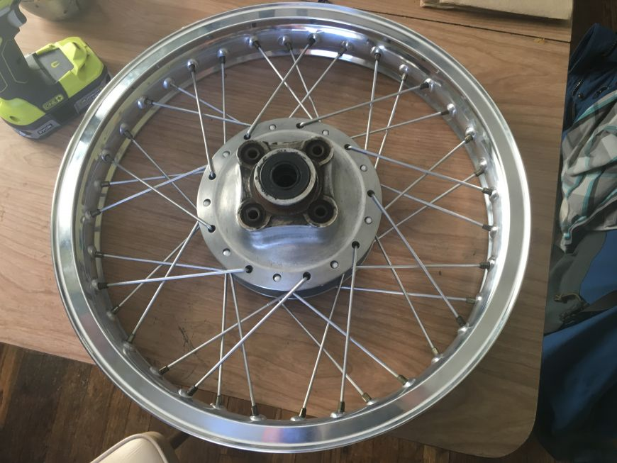 lacing motorcycle while rims spokes