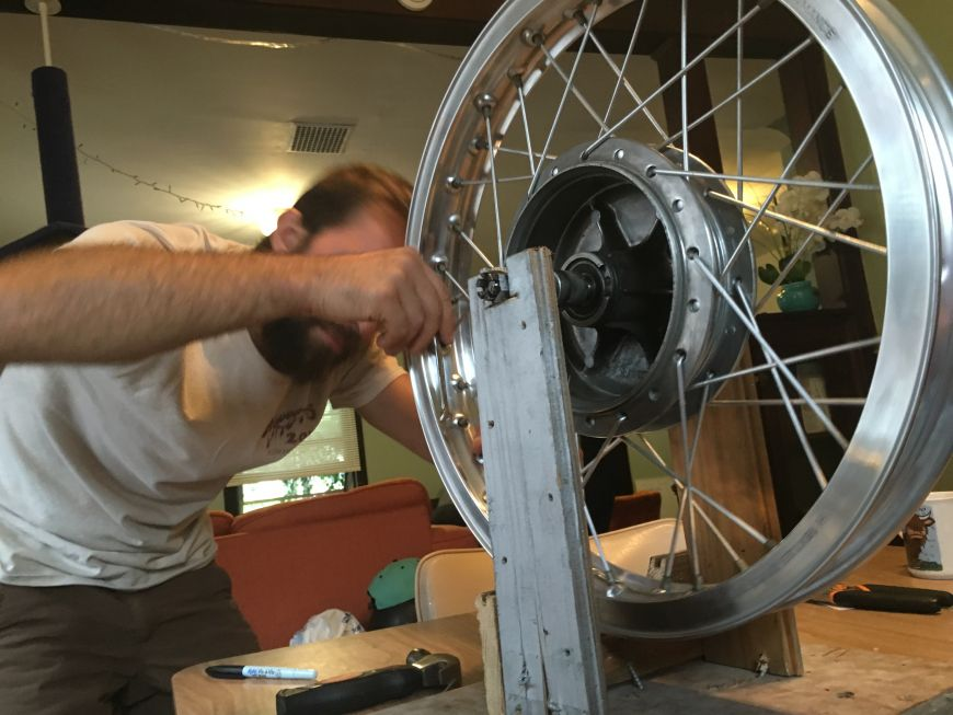 trueing motorcycle rims spokes on a homemade, DIY truing stand