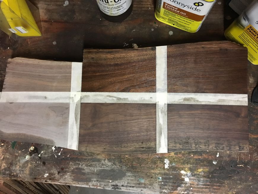 walnut wood oil finish with rottenwood grain filler test comparison