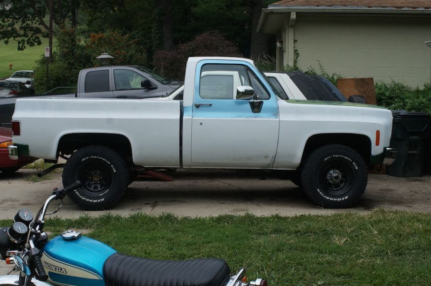 chevy k10 squarebody stock height suspension 33 inch tires no lift