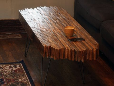 diy coffee table made with old pallet wood, homemade and hand made